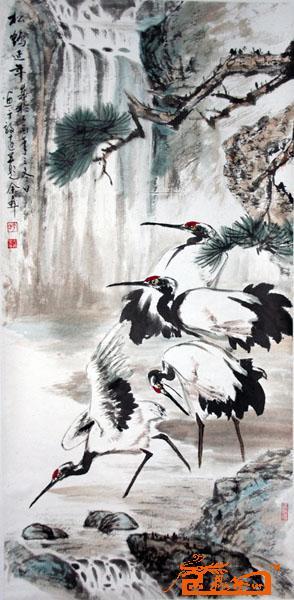 名家 余彝 国画 - 18松鹤延年